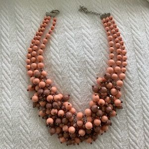 J CREW Beaded Pink and Brown Statement Necklace